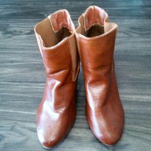 a.x.n.y | Cognac Wedge Boots (5.5)